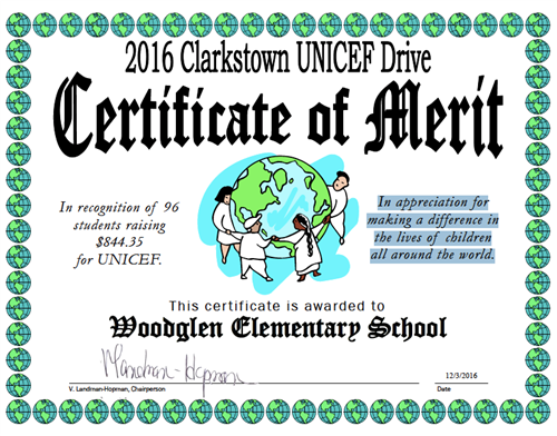 WG Students Recognized by UNICEF