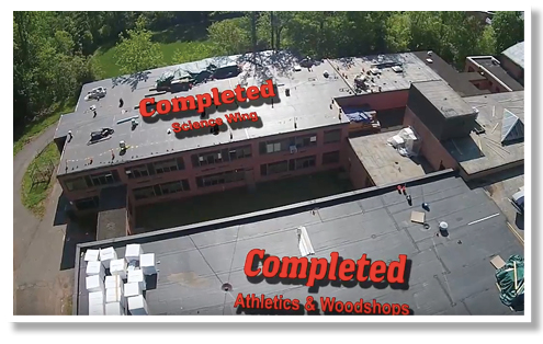 Sky View of Roof Work at North High School
