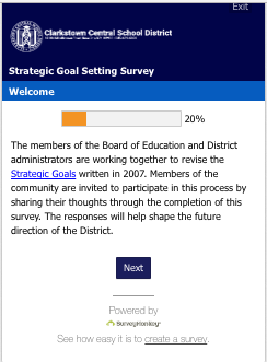 Strategic Goals Survey Screenshot